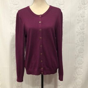 Tommy Hilfiger Purple Button Up Cardigan L